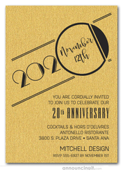 Art Deco Shimmery Gold Business Anniversary Invitations