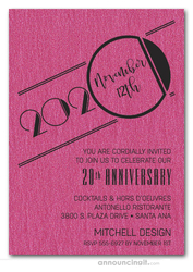Art Deco Shimmery Hot Pink Business Anniversary Invitations