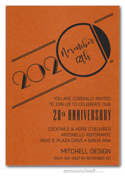 Art Deco Shimmery Orange Business Anniversary Invitations