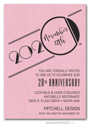 Art Deco Shimmery Pink Business Anniversary Invitations