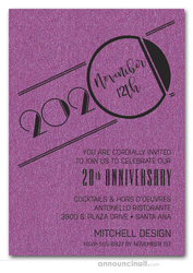 Art Deco Shimmery Purple Business Anniversary Invitations