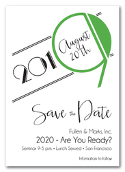 Art Deco Green Business Save the Date Cards