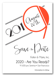 Art Deco Orange Business Save the Date Cards