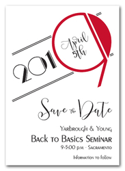 Art Deco Red Business Save the Date Cards