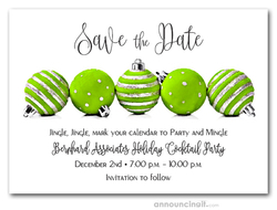 Lime Green Ornaments Holiday Save the Date Cards