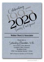 Then & Now Shimmery Silver Business Anniversary Invitations