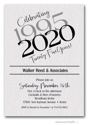 Then & Now Shimmery White Business Anniversary Invitations