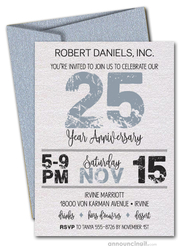 Grunge Silver Shimmery White Business Anniversary Invites
