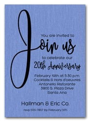 Join Us Shimmery Blue Business Anniversary Invitations