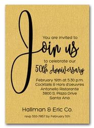 Join Us Shimmery Gold Business Anniversary Invitations