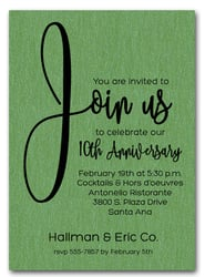 Join Us Shimmery Green Business Anniversary Invitations