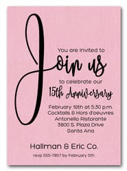 Join Us Shimmery Pink Business Anniversary Invitations