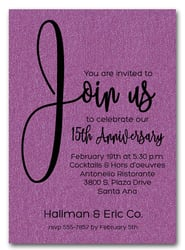 Join Us Shimmery Purple Business Anniversary Invitations