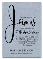 Business event invitations corporate invitations for all occasions join us shimmery silver business anniversary invitations stopboris Choice Image