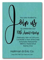 Join Us Shimmery Turquoise Business Anniversary Invitations