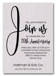 Join Us Shimmery White Business Anniversary Invitations