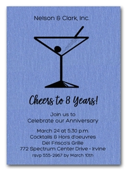 Martini on Shimmery Blue Business Invitations