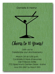 Martini on Shimmery Green Business Invitations