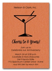 Martini on Shimmery Orange Business Invitations
