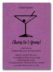 Martini on Shimmery Purple Business Invitations