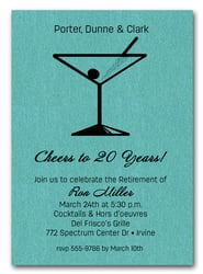 Martini on Shimmery Turquoise Business Invitations