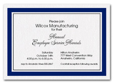 Navy Border Business Invitations