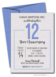 Numbered Blue Business Anniversary Shimmery Invitations