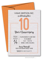 Numbered Orange Business Anniversary Shimmery Invitations