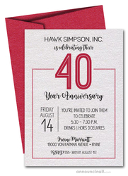 Numbered Red Business Anniversary Shimmery Invitations