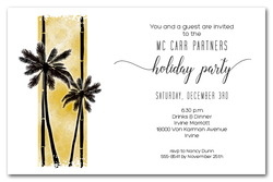 Palm Silhouettes on Gold Business Holiday Invitations