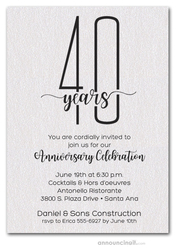 Slender Shimmery White Business Anniversary Party Invitations