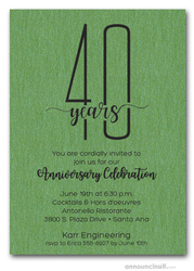 Slender Shimmery Green Business Anniversary Party Invitations