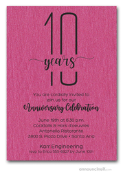 Slender Shimmery Hot Pink Business Anniversary Party Invitations