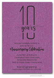 Slender Shimmery Purple Business Anniversary Party Invitations