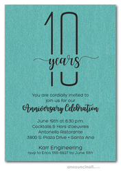 Slender Shimmery Turquoise Business Anniversary Party Invitations