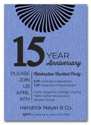 Sunburst Shimmery Blue Business Anniversary Invitations