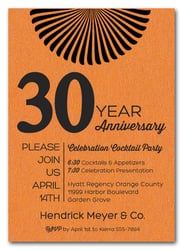 Sunburst Shimmery Orange Business Anniversary Invitations