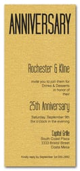 Tall Shimmery Gold Anniversary Invitations