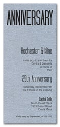 Tall Shimmery Silver Anniversary Invitations