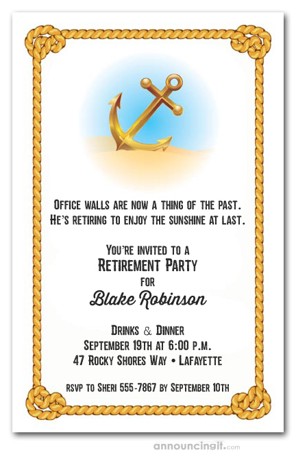 Anchor Rope Retirement Party Invitations