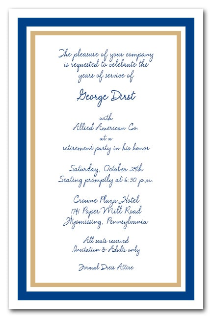 navy blue and gold border business party invitations
