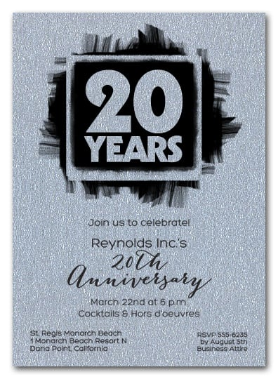 shimmery silver brushed business anniversary invitations