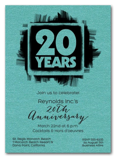 Shimmery Turquoise Brushed Business Anniversary Invitations