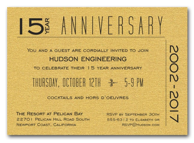 Modern shimmery gold business anniversary invitations anniversary shimmery gold 7 stopboris Gallery