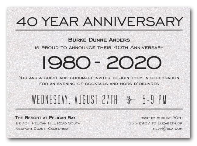 Shimmery White Business Anniversary Celebration Invitations