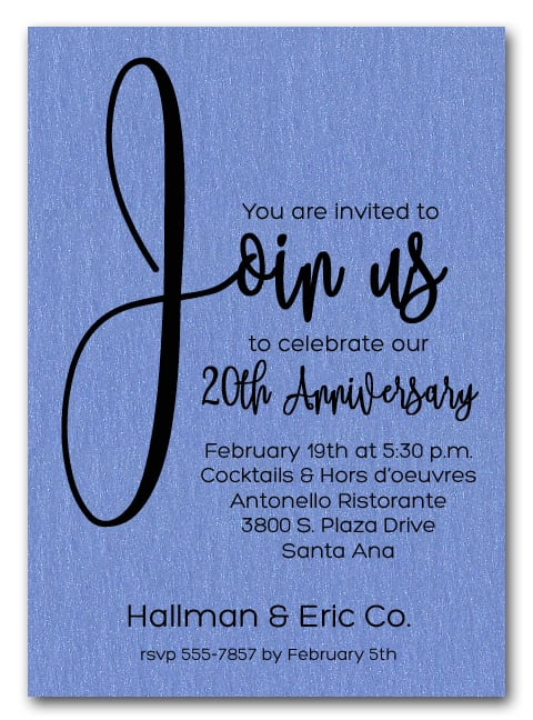 join us shimmery blue business anniversary party invitations