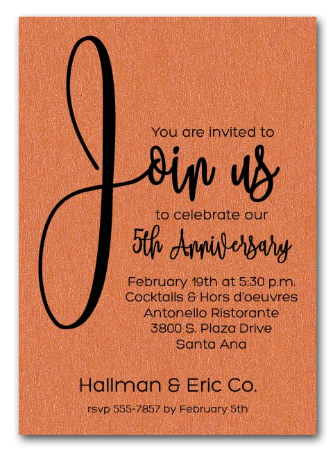 join us shimmery orange business anniversary party invitations