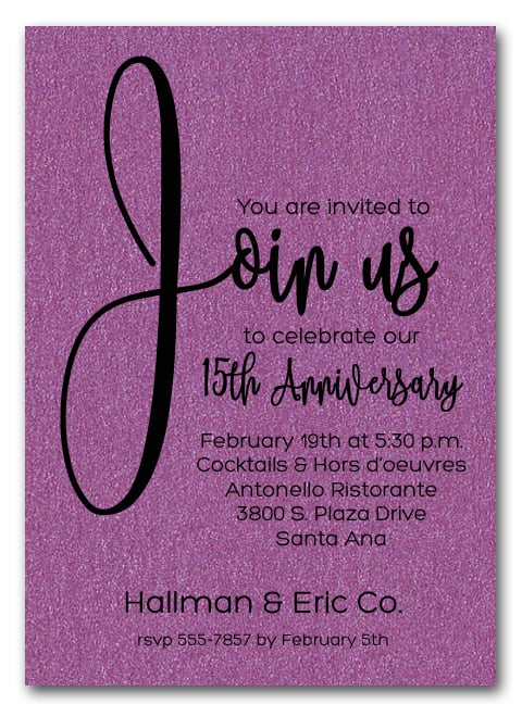 join us shimmery purple business anniversary party invitations