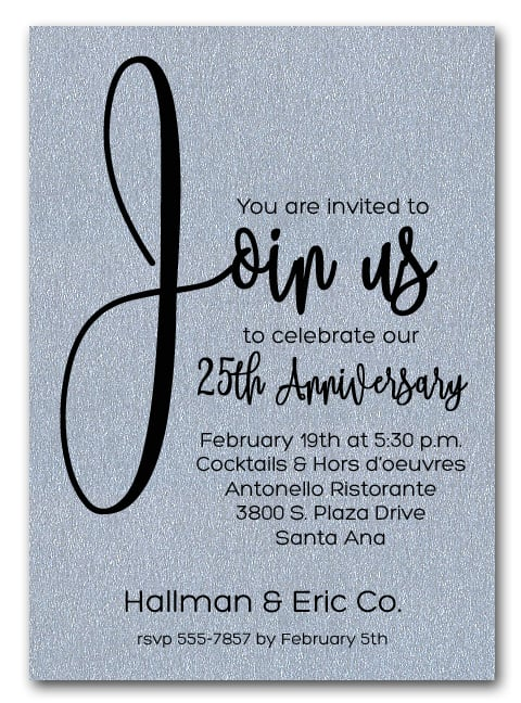 join us shimmery silver business anniversary party invitations