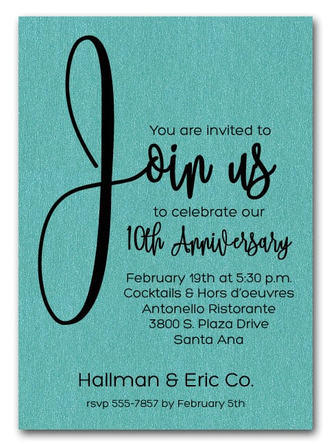 Join Us Shimmery Turquoise Business Anniversary Party